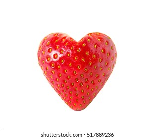 Strawberry heart isolated on white.