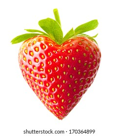 Strawberry heart shape berry isolated on white