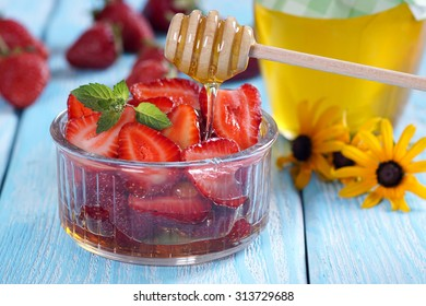 Strawberry with honey. Blue Area.