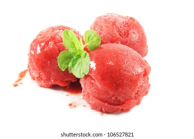 Strawberry ice cream, sorbet