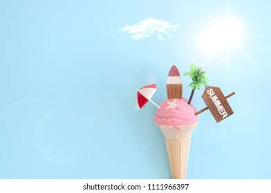Strawberry icecream with beach items and sunshine