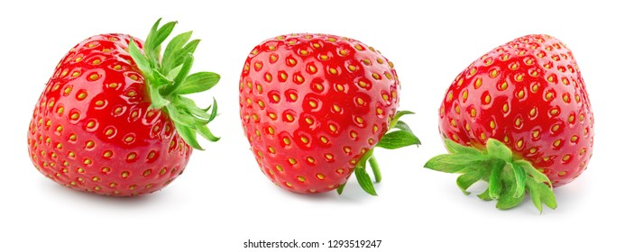 Strawberry isolate. Strawberries isolated on white background. Collection.
