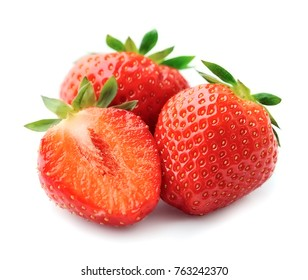 Strawberry isolated closeup on white backgrounds.