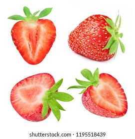 Strawberry isolated on white background. Strawberry Collection Set