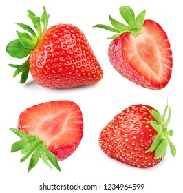 Strawberry isolated on white background. Collection Set