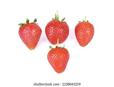 strawberry isolated on white background .