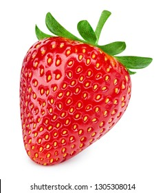 Strawberry isolated on white background. Strawberry Clipping Path. Professional studio macro shooting