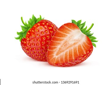 Strawberry isolated on white background with clipping path, two strawberries, whole and cut fresh berries