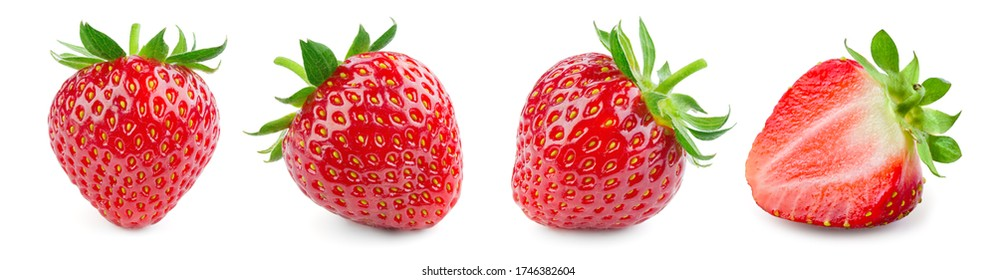 Strawberry isolated. Strawberries with leaf isolate. Whole and half of strawberry on white. Strawberries isolate. Side view strawberries set.