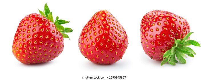 Strawberry isolated. Strawberries on white. Collection.