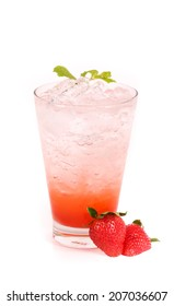 strawberry juice in a glass isolated on white background