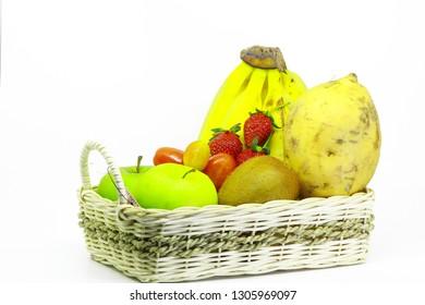 Strawberry kiwi banana apple sweet potato on the basket