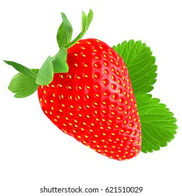 Strawberry with leaf isolated on white background as package design element.