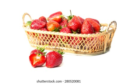 Strawberry with leaf on white background