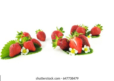 Strawberry and leaves with flowers on a white background
