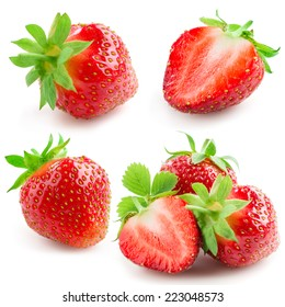 Strawberry with leaves isolated on a white background. Collection