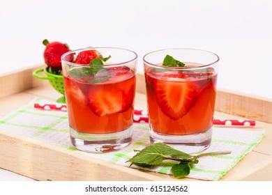 Strawberry Lemonade Drink. Selective focus.
