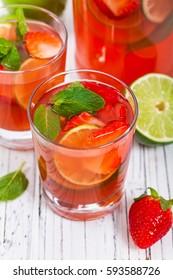 Strawberry Lime Lemonade Summer Drink. Selective focus.