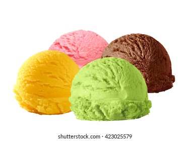 Strawberry, mango mint and chocolate flavor ice cream scoops isolated on white background