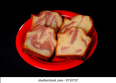 Strawberry marbled sweet bread isolated on black