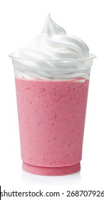 Strawberry milkshake covered with whipped cream in plastic glass isolated on white background