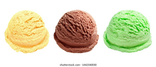 Strawberry, mint and blueberry ice cream scoops from top view isolated on white background including clipping path