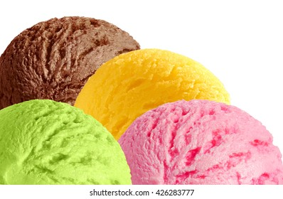 strawberry, mint, chocolate and mango flavor ice cream scoops isolated on white background
