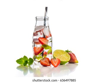 Strawberry and mint infused detox water isolated on white, health concept