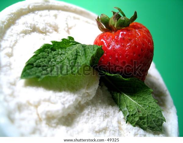 Strawberry, mint and vanilla ice cream.