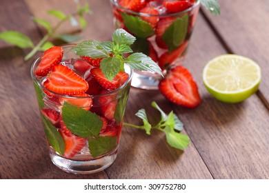 Strawberry mojito at the bar