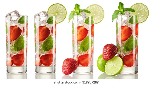 Strawberry mojito cocktail collection isolated on white
