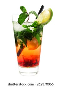 Strawberry Mojito cocktail isolated on white background