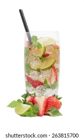 Strawberry mojito drink with falling strawberries, isolated on white background