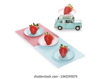 strawberry on blue background