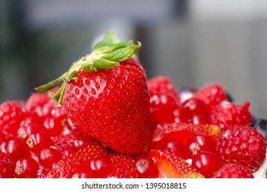 Strawberry on top of variety of red berries