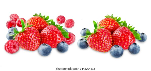 Strawberry on a white isolated background. toning. selective focus