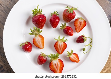Strawberry on white plate