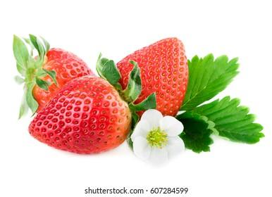 Strawberry organic strawberries on white