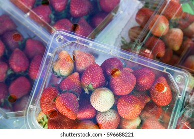 Strawberry in package at the market.Food package concept.