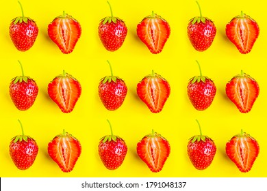 Strawberry pattern on bright yellow background, minimal concept
