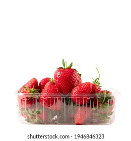 Strawberry In Plastic Container Isolated On White Background. Strawberries In Clear Punnet Closeup Front View.