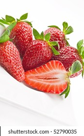 strawberry in a plate isolated on white background