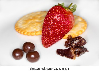 Strawberry platter with other delicacies.