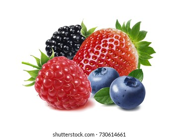 Strawberry, raspberry, blackberry and blueberry isolated on white background