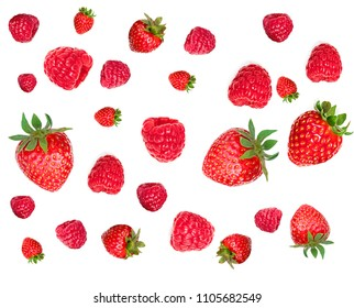 Strawberry and Raspberry Pattern. Various fresh berries isolated on white background, close up. Flying Strawberry, Mint, Raspberry and Blueberry