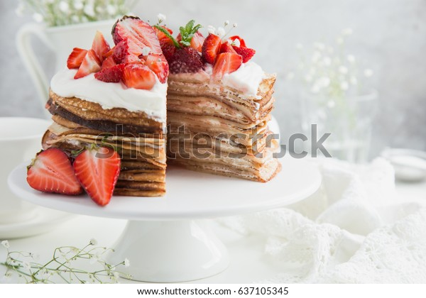 strawberry and ricotta crepes cake,  selective focus