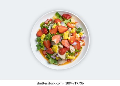 Strawberry Salad Thai style food And white background