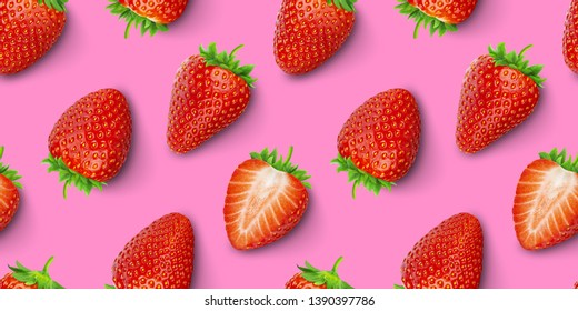 Strawberry seamless pattern, strawberries on red colored background, top view, flat lay, summer pattern