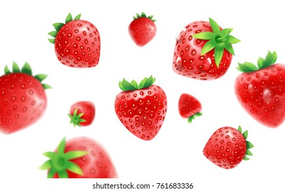 Strawberry set, detailed realistic ripe fresh strawberries with green leaves with water droplets isolated on a white background. 3d illustration.