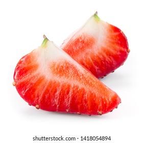 Strawberry slice. Strawberries isolate. Cut strawberry on white background.